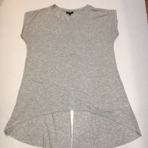 TOPSHOP split back high low tee SZ 4 Gray